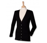 H723-BL-2XL - Henbury•LADIES` LIGHTWEIGHT V-NECK CARDIGAN